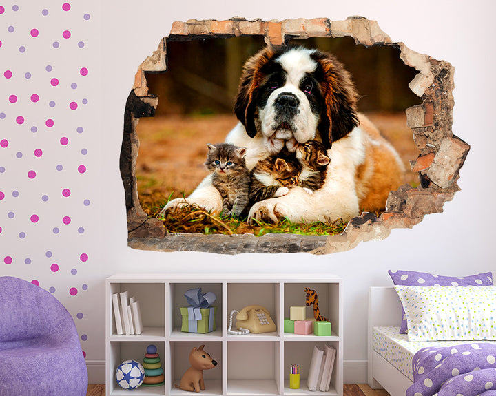 Adorable Dog With Kittens Girls Bedroom Decal Vinyl Wall Sticker R247