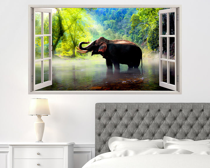 Beautiful Jungle Elephant Bedroom Decal Vinyl Wall Sticker R249