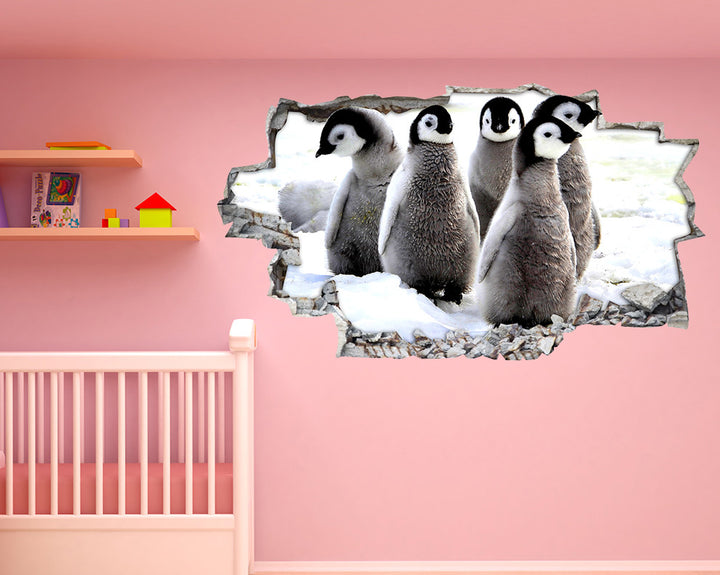 Cute Grey Baby Penguins Nursery Decal Vinyl Wall Sticker R254