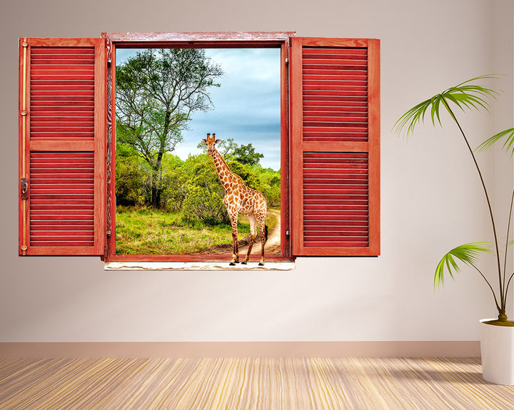 Giraffe Nature Safari Hall Decal Vinyl Wall Sticker R257