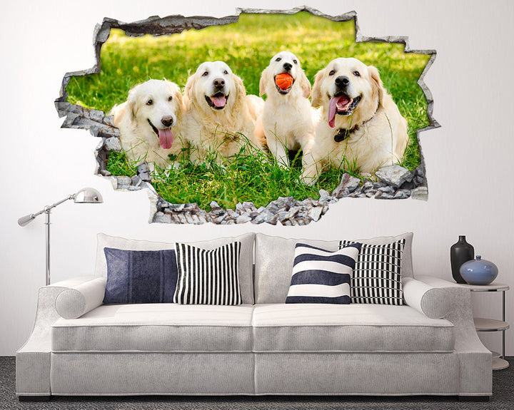Happy Golden Retreiver Dogs Living Room Decal Vinyl Wall Sticker R258