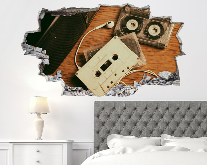Retro Music Cassette Tapes Bedroom Decal Vinyl Wall Sticker R279