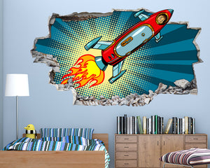 Cartoon Rocket Man Boys Bedroom Decal Vinyl Wall Sticker R284