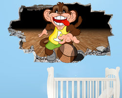 Cartoon Monkey Basketball Nursery Decal Vinyl Wall Sticker R431