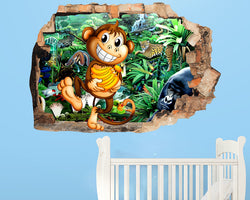 Cartoon Monkey Jungle Nursery Decal Vinyl Wall Sticker R517