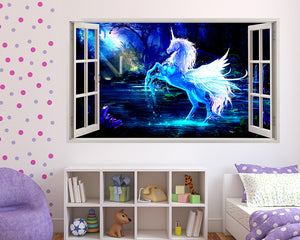 Magical Unicorn Forest Girls Bedroom Decal Vinyl Wall Sticker R808