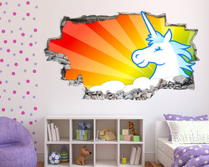 Cartoon Rainbow Sky Unicorn Girls Bedroom Decal Vinyl Wall Sticker R810