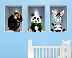 Panda Zebra Monkey Zoo Animals Nursery Decal Vinyl Wall Sticker R826