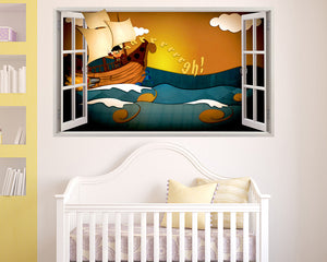 Pirate Ship Sea Cartoon Nursery Decal Vinyl Wall Sticker R864