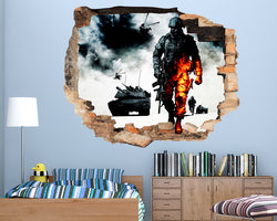 War Army Explosion Soldier Boys Bedroom Decal Vinyl Wall Sticker R915