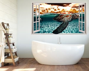 Sea Turtle Sea Reef Bathroom Decal Vinyl Wall Sticker R966