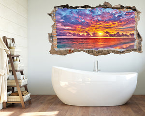 Pink Beautiful Sunset Bathroom Decal Vinyl Wall Sticker S555