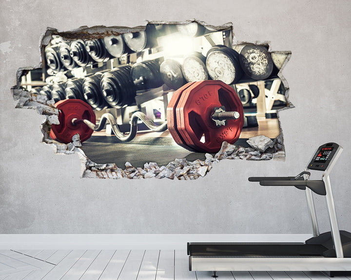 Heavy Red Weights Gym Decal Vinyl Wall Sticker T012