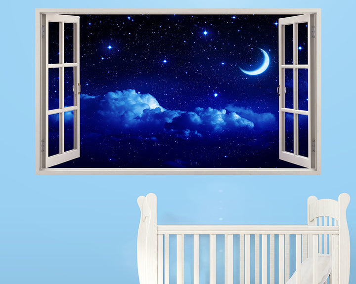 Blue Night Sky Moon Nursery Decal Vinyl Wall Sticker T081