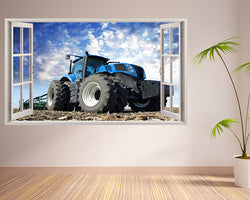 Blue Tractor Field Living Room Decal Vinyl Wall Sticker T089