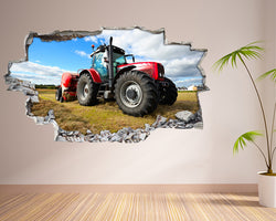 Red Tractor Field Living Room Decal Vinyl Wall Sticker T109