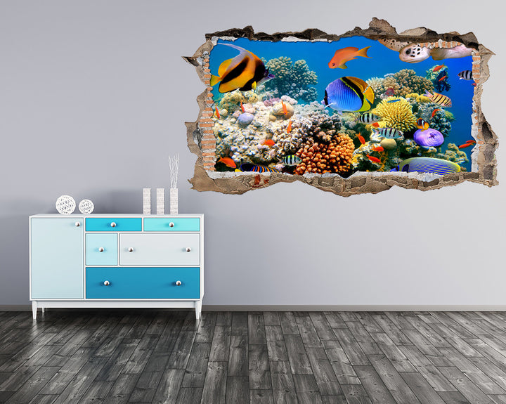 Colourful Fish Reef Hall Decal Vinyl Wall Sticker W039
