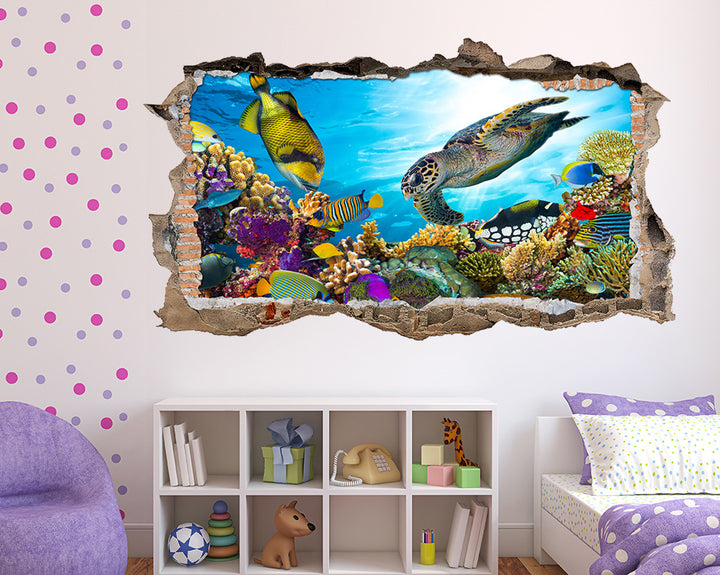 Turtle Fish Sea Reef Girls Bedroom Decal Vinyl Wall Sticker W216
