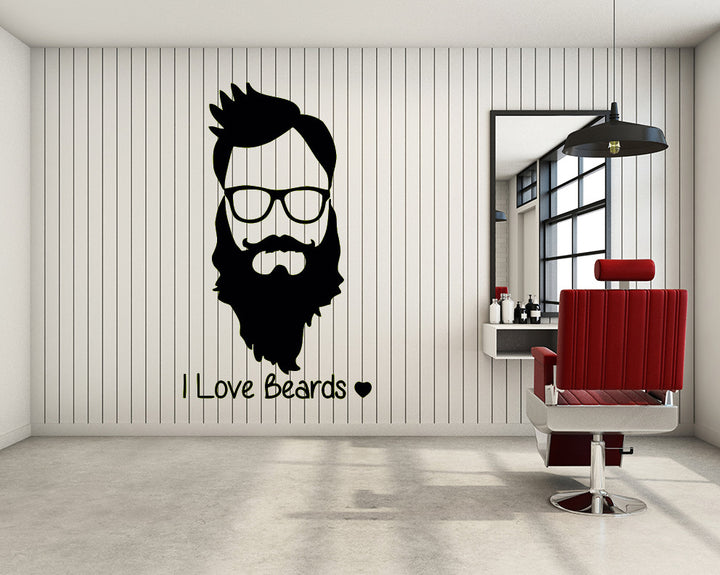 Beard Decal Vinyl Wall Sticker