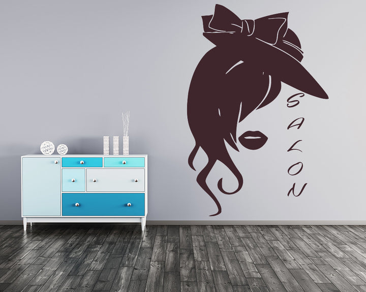 Girl's Face Decal Vinyl Wall Sticker