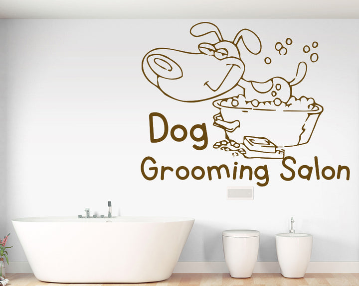 Dog Grooming Decal Vinyl Wall Sticker