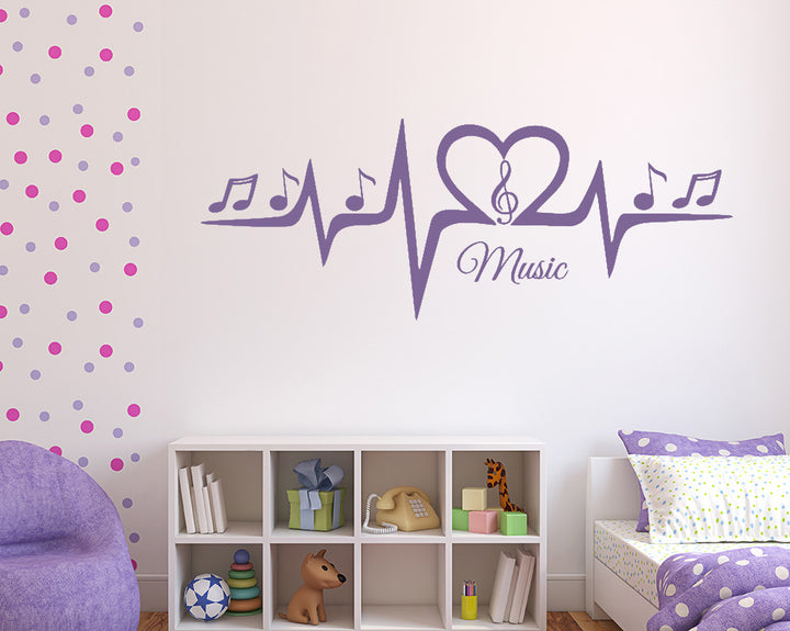 Music Heartbeat Decal Vinyl Wall Sticker