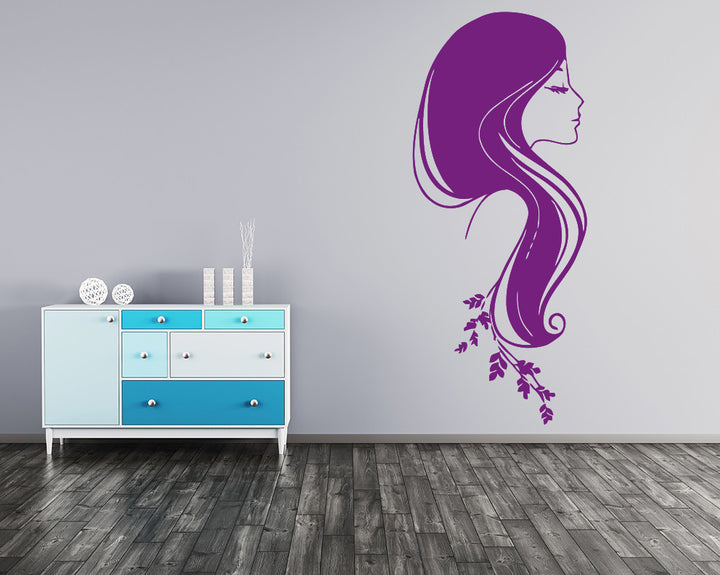 Girl's Hair Decal Vinyl Wall Sticker