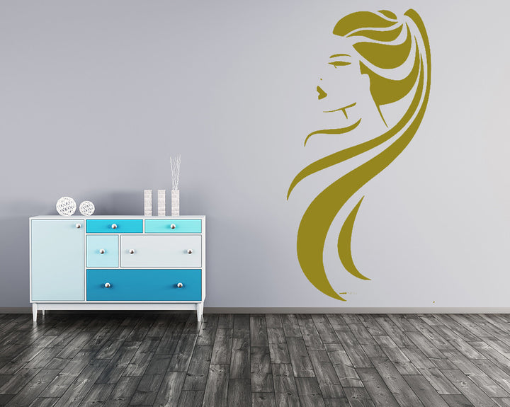 Girl With Long Hair Decal Vinyl Wall Sticker