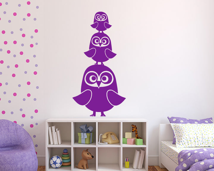 Family Of Owls Decal Vinyl Wall Sticker