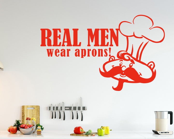 Cooking Real Men Chef Decal Vinyl Wall Sticker