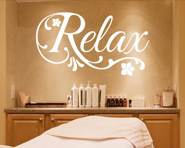 Relax Floral Decal Vinyl Wall Sticker