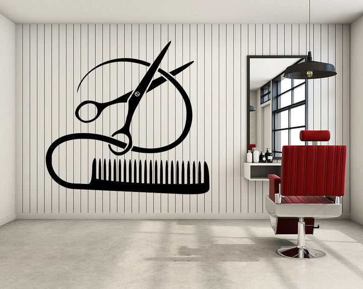 Hair Cutting Decal Vinyl Wall Sticker