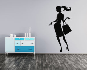 Shopping Girl Decal Vinyl Wall Sticker