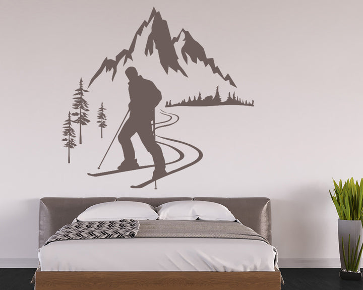 Mountain Skiing Decal Vinyl Wall Sticker