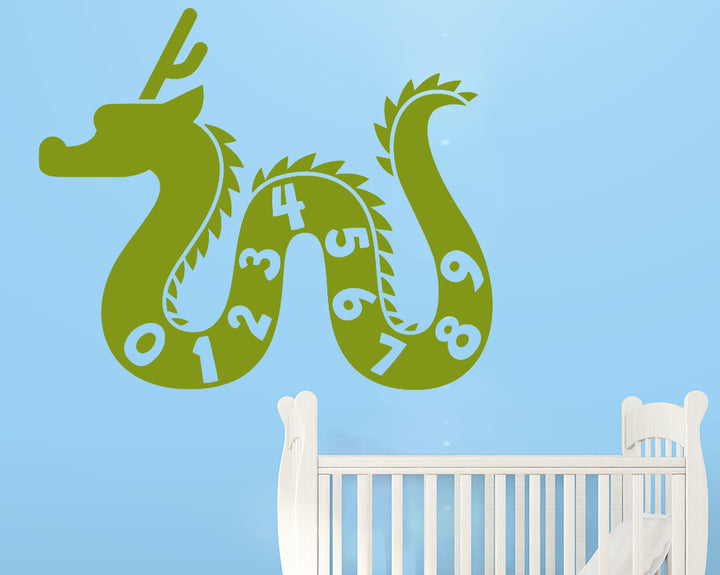 Numbers Dragon Decal Vinyl Wall Sticker