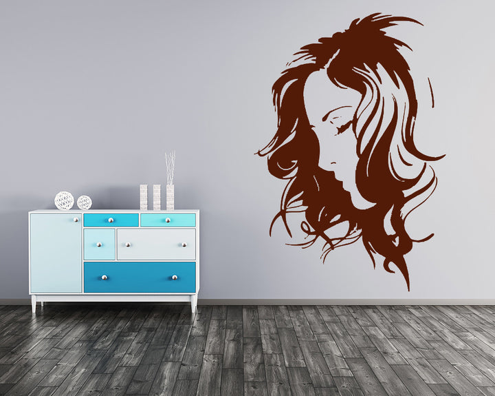 Messy Curly Hair Decal Vinyl Wall Sticker