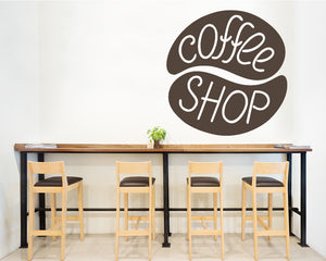 Coffee Bean Sign Decal Vinyl Wall Sticker