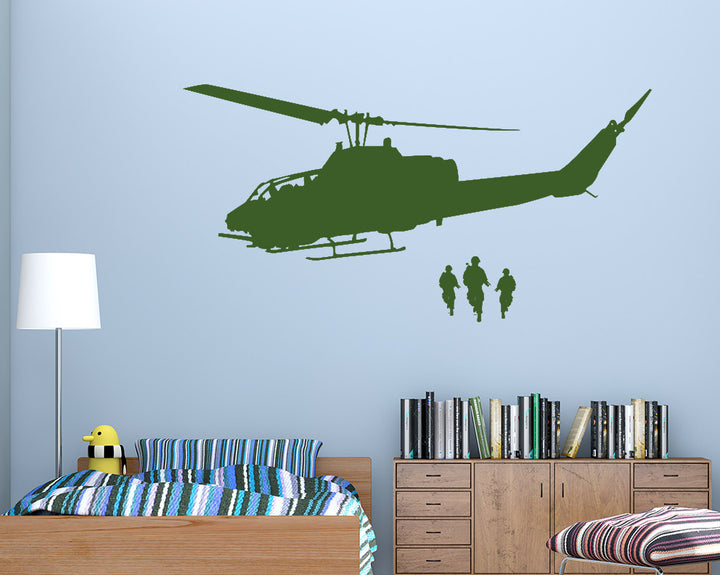 Army Soldier Helicopter Decal Vinyl Wall Sticker