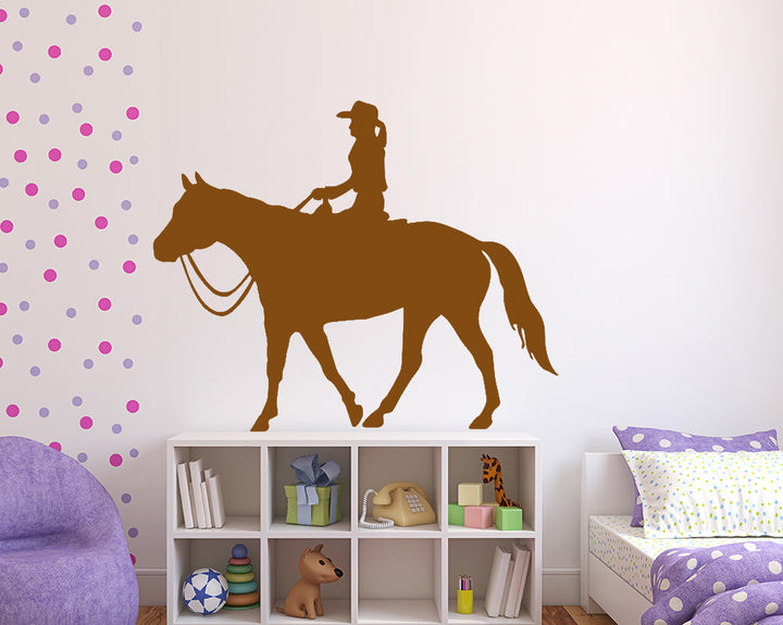 Horse Riding Cowgirl Decal Vinyl Wall Sticker