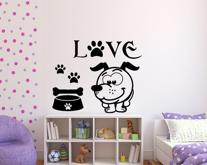 Cartoon Dog Love Decal Vinyl Wall Sticker