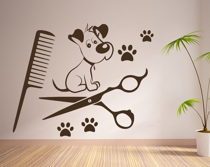 Cute Puppy Pamper Decal Vinyl Wall Sticker