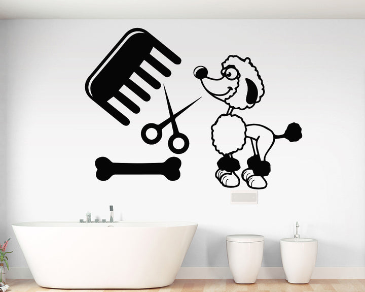 Poodle Grooming Pamper Decal Vinyl Wall Sticker