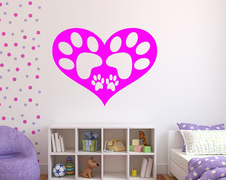 Paw Print Heart Decal Vinyl Wall Sticker