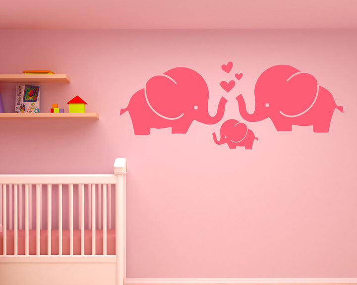 Cute Elephant Family Love Decal Vinyl Wall Sticker