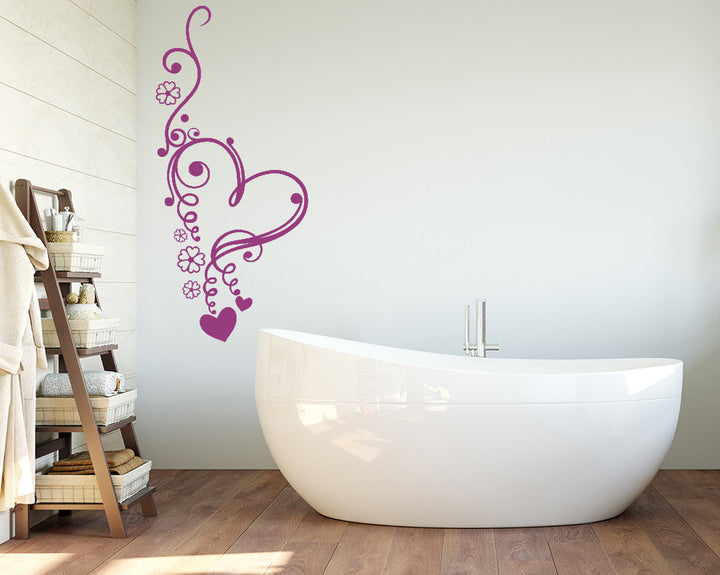 Floral Heart Swirl Decal Vinyl Wall Sticker