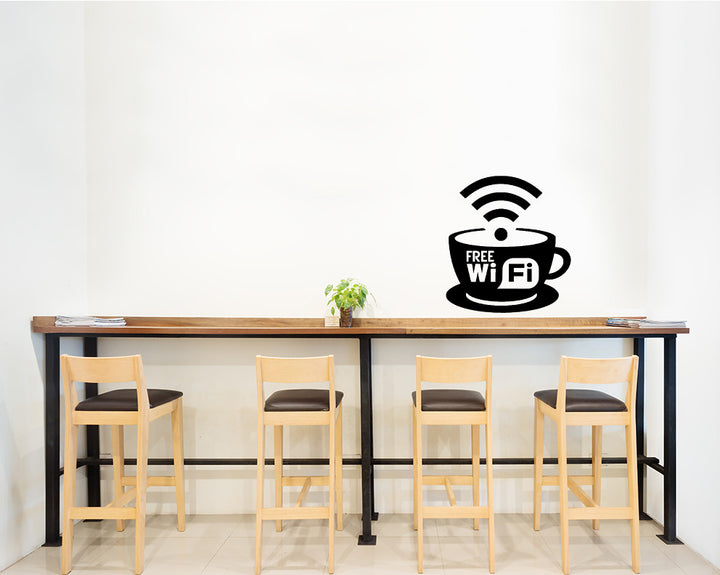 Free WiFi Coffee Cup Decal Vinyl Wall Sticker