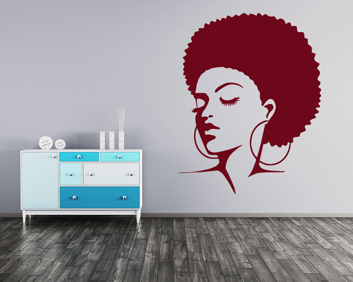 Cool Afro Hair Girl Decal Vinyl Wall Sticker