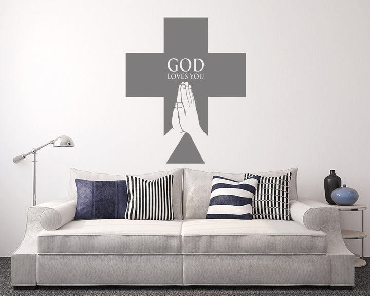 God Loves You Cross Decal Vinyl Wall Sticker