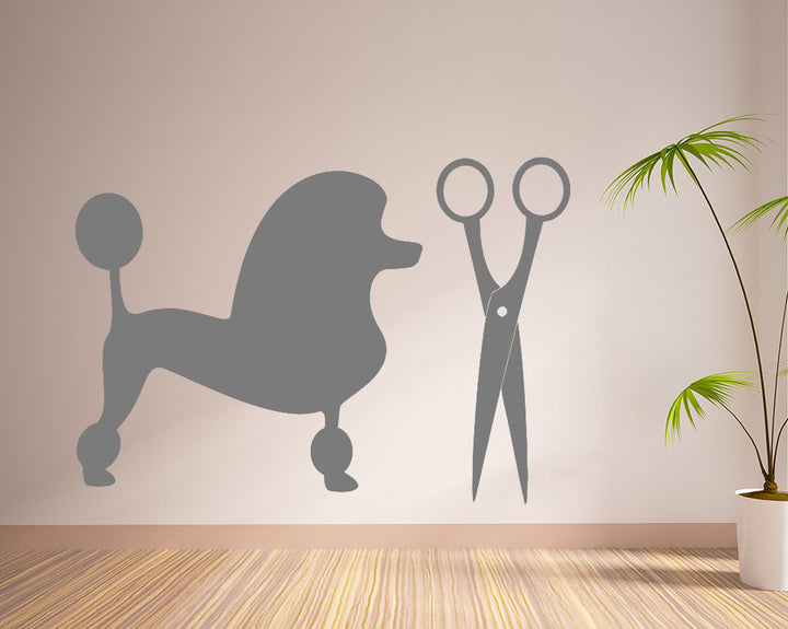 Poodle Grooming Decal Vinyl Wall Sticker