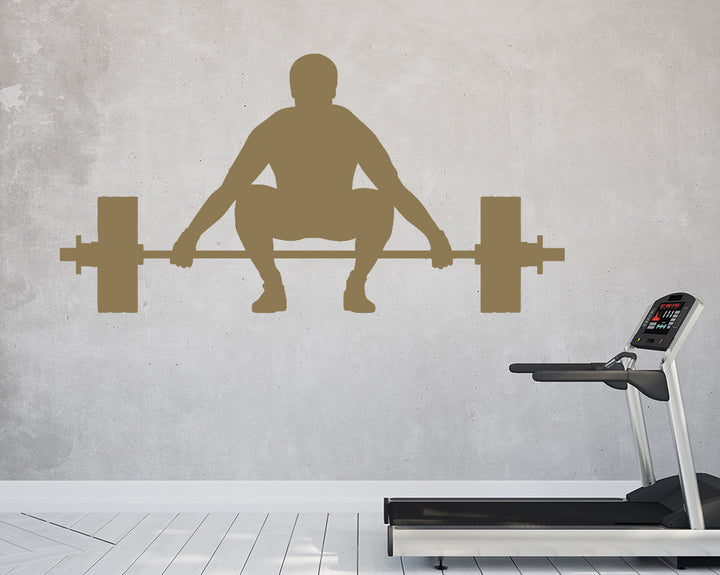 Weights Squat Man Strong Decal Vinyl Wall Sticker